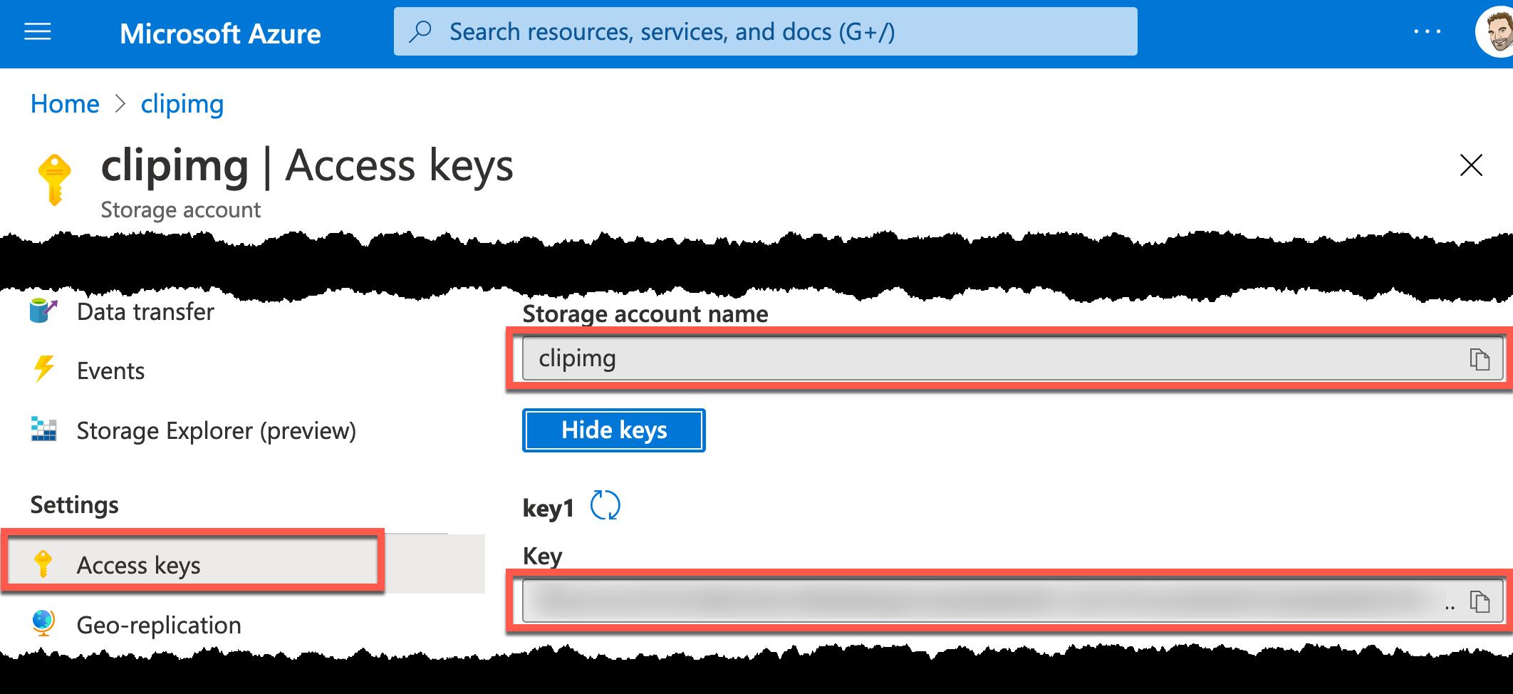 Azure portal storage account name and key